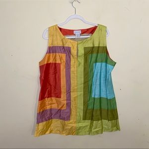 SOFT SURROUNDINGS color block design tank top SzXL